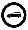 family car icon black color in circle vector image