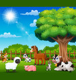 farm animals are enjoying nature by the cage vector image vector image