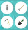 flat icon dacha set of tool trowel pump and vector image