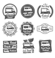 Food truck festival vintage emblems and logos vector image