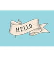 Greeting card with ribbon and word Hello vector image vector image