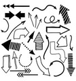 hand drawn arrows doodle set vector image
