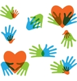 Hands and Love abstract icons collection isolated vector image vector image