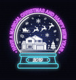 have a magical christmas and happy new year neon vector image