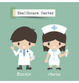 healthcare center doctor and nurse cartoon vector image