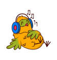 humanized tropical bird lying on back and vector image
