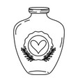 line mason jar with heart sticker and branches vector image vector image