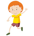 Little boy in yellow shirt vector image