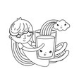 little girl with milk and rainbow kawaii character vector image