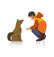 man in jacket and dog cartoon characters isolated vector image