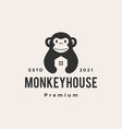 monkey house hipster vintage logo icon vector image vector image