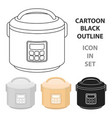 multicooker icon in cartoon style isolated on vector image