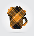 orange black tartan isolated icon beer with foam vector image