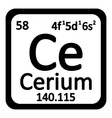 Periodic table element cerium icon vector image vector image