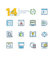 programming - colorful thin line design icons set vector image