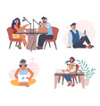 radio podcast set flat isolated vector image vector image