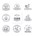 set eight modern linear style logos with farm vector image vector image