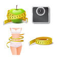 set health and body care icon diet and weight vector image vector image