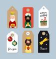 set of cute christmas gift tags three magi