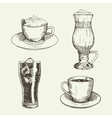 Set of graphic drinks include cup of cappuccino vector image vector image