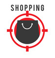 shopping shooting target black bag background vect vector image vector image
