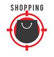 shopping shooting target black bag background vect vector image