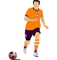 soccer player in orange uniforms colored for vector image vector image