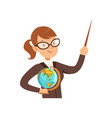 Teacher character with a pointer and globe