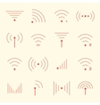 thin red wifi icons on yellow background vector image vector image