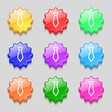 Tie icon sign symbol on nine wavy colourful vector image