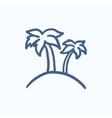 Two palm trees on island sketch icon vector image vector image