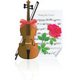 violin with rose vector image