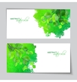 Watercolor banners with green leaves vector image