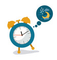 white background with alarm clock and cloud vector image