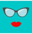 Women glasses and red lips set Fashion background vector image vector image