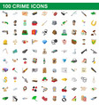 100 crime icons set cartoon style vector image vector image