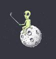 alien makes selfie on moon vector image vector image