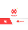 ambulance and bomb logo combination medic vector image vector image