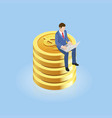 businessman sitting on gold coins isometric vector image vector image