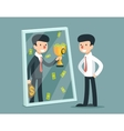 businessman standing in front mirror and see vector image vector image