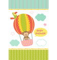 card with baby monkey on air balloon vector image vector image