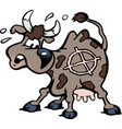 cartoon of a a scared cow in the shot line vector image vector image
