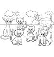 cats group cartoon coloring book page vector image