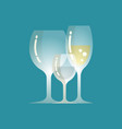champagne and water poured in glass isolated icons vector image