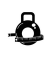 contour dumbbell with measuring to healthy vector image vector image