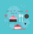 cute hand drawn cakes delicious sweet dessert vector image