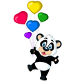 cute panda cartoon holding balloon vector image vector image