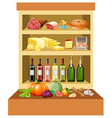 Different kind of food on the shelves vector image vector image