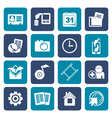 Flat Mobile phone menu icons vector image vector image