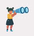 girl explorer with binoculars vector image